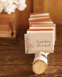 A birch branch makes a simple escort-card holder