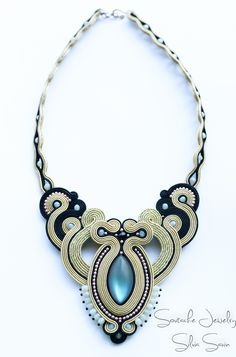 Black and Gold Handmade Soutache Necklace