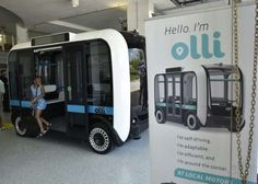 """""""Olli"""" an autonomous shuttle is seen at the Local Motors facility at the National Harbor in Maryland on June 16, 2016"""