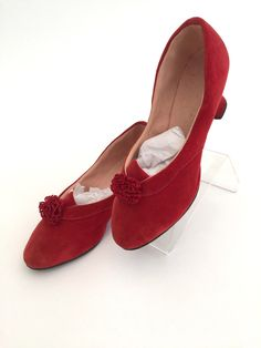 1920s ruby red boudoir slippers shoes velvet with pom poms antique vintage by SallyHoban on Etsy https://www.etsy.com/listing/602163746/1920s-ruby-red-boudoir-slippers-shoes