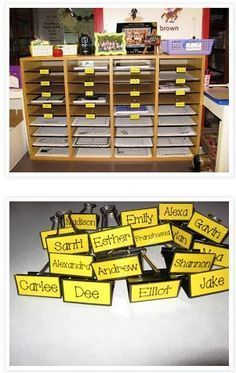 Binder Clips to Label Mailboxes~ Great idea from Teaching with Love and Laughter! Type out student names, laminate the page, cut out, tape to bottom of binder clips. Easy to make and update!