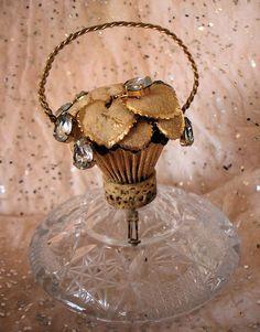 Antique Jeweled Basket Shaped Perfume Bottle Rare Irice
