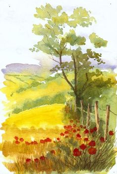 Simple-Watercolor-Painting-Ideas 80 in all including landscapes flowers animals Several people have tried this Popular post Do you notice some posts receive more hits 32 pins today and going I suggested the idea in my summary 27 pins and still going Watercolor Pictures, Watercolor Landscape Paintings, Watercolor Trees, Easy Watercolor, Landscape Art, Water Colour Landscape, Abstract Watercolor Tutorial, Landscape Designs, Watercolor Artists
