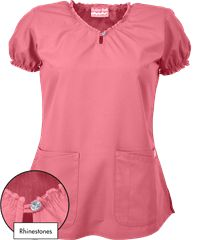 Butter-Soft Scrubs by UA™ Keyhole Neck Top w/ Rhinestone Detail Bring out your inner fashionista with this adorable keyhole scrub top! Cute Nursing Scrubs, Red Scrubs, Scrubs Pattern, Scrubs Outfit, Scrubs Uniform, Uniform Advantage, Womens Scrubs, Diy Couture, Nursing Dress