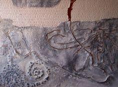 Flusso di vita fossile. Tecnica mista e mosaico su tavola, cm. 120x160