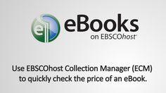 ECM Price Check for eBooks on EBSCOhost