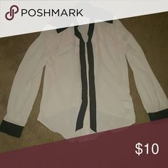 💕HUGE SALE💕Cream and black button up 100% polyester cream and black.... button up top w black strips down the front that I've tied in a bow and black collar and the bottom of the sleeves... So cute! Worn once... Feel free to ask any questions like more pics or measurements! ✅Make an offer through OFFER button ONLY ✅Negotiations welcome ❌No trades ❌No PayPal ✴Bundles encouraged✴ Forever 21 Tops Button Down Shirts
