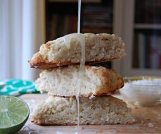 Coconut Banana Bread Scones with Lime Glaze