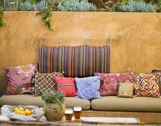 Outdoor banquette style seating