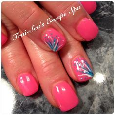 Neon Pink with accent nail by TraiSeasEscape from Nail Art Gallery