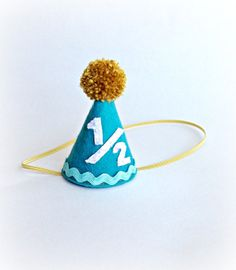 Half Birthday Party Hat Cone Felt By Littleblueolive 1600