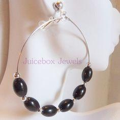 Clip on BLACK  2.5 inch Oval Faux Pearl Hoop Handmade Non-Pierced Earrings V153 #Handmade #Hoop  #cliponearrings #hoopearrings #juiceboxjewels #fauxpearlearrings