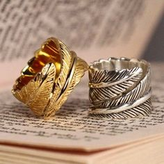 Silver and Gold Etched Wrap Feather Indie Hipster Ring Jewelry