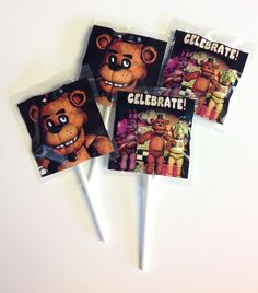 25 FNAF MINI LOLLIPOPS CANDY PARTY FAVORS