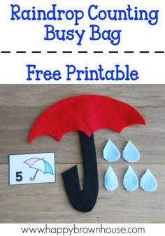 This Umbrella Raindrop Counting Busy Bag is a great way for preschoolers to practice counting, number recognition, and one-to-one correspondence. Creative Activities For Kids, Counting Activities, Preschool Learning Activities, Alphabet Activities, Preschool Activities, Number Activities, Number Worksheets, Preschool Kindergarten, Indoor Activities