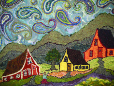 Crooked Houses & Paisley Sky - hooked by Deanne Fitzpatrick ** she's known for her off-kilter houses & skies with paisley, circles & movement!