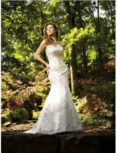 Satin Strapless Empire Line With Crystals While Embroidery And Beadwork Swirl Weddin Dresses