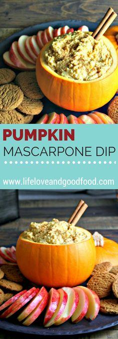 Serving creamy Pumpkin Mascarpone Dip in a carved out pie pumpkin ...
