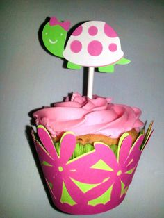 Turtle Birthday Party Girl Cupcake sticks and cupcake wrappers 12 count  Happy Birthday Girl Turtle theme on Etsy, $24.99