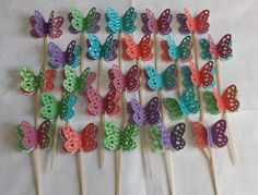 Butterfly Cupcake Toppers in Fall Colors by HandyGrams on Etsy, $7.00
