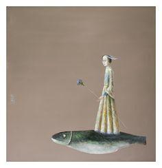 Girl With Blue Flowers - Stefan Caltia Weird Fish, One Fish Two Fish, Koi, Bird Kite, Clay Fish, Fish Tales, Magic Realism, Communication Art, Art For Art Sake