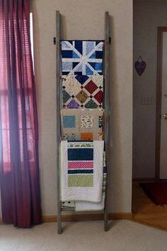 Antique ladder quilt rack. What a great idea!  From Gen X Quilters blog.