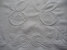 ANTIQUE FRENCH LINEN sheet top for re working   hand embroidered monograme for re use from antique French linen sheets,