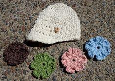 Cream Organic Crochet Brim Baby Girl Hat w/ by TayuhTate on Etsy, $30.00