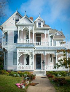 House with perfectly preserved Victorian-style architecture complete with gingerbread trim in Waxahachie, Texas