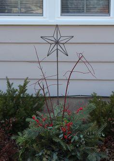 Star yard ornament. Evergreen planter designed by the Maven November 2012