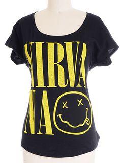 Nevermind Nirvana Dolman Band Tee by F.E.A. Merchandising, BLACK