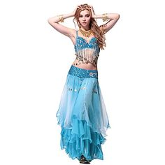 Performance Dancewear Chiffon Belly Dance Outfit Top and Belt and Skirt For Ladies – USD $ 99.99