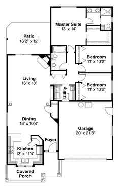 Find your dream country style house plan such as Plan which is a 1598 sq ft, 3 bed, 2 bath home with 2 garage stalls from Monster House Plans. House Plans 3 Bedroom, Duplex House Plans, Bungalow House Plans, New House Plans, Narrow Lot House Plans, Monster House Plans, Building A House, Building Ideas, Country Style House Plans