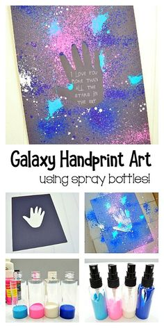 Galaxy Handprint Art Project for Kids: This process art activity for kids makes a fun messy art activity for summer. Also a nice card cover for Mother's Day or Father's Day. You could even frame the final product as a special homemade gift. #processart #galaxyart #preschool #messyart #summerfun #summeractivity