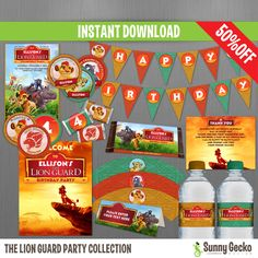 The Lion Guard Birthday Party Collection - Instant Download and Edit with Adobe Reader by SunnyGeckoDesign on Etsy