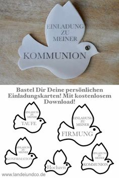 Ein bisschen Frieden Make your own invitation card for baptism, communion, confirmation, confirmatio Make Your Own Invitations, For Your Party, Communion, Invitation Cards, Party Favors, Stampin Up, Place Cards, Peace, Make It Yourself