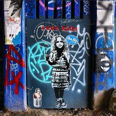 """Under the Bridge"" #StreetArt by @dotmasters Featuring: @georgieartist & @noriakinoriaki / #Art #Artist #Artwork #StreetArtEverywhere #Paint #Painting #SprayPaint #StreetPhotography #Graffiti #Draw #WallArt #Mural #Illustration #UrbanArt #StreetArtPhotography #rudekids / #London #EastLondon #BrickLane #Shoreditch #LondonStreetArt / #Muse"