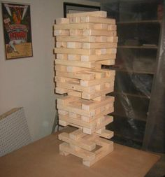 "Giant Jenga DIY | Cut 2x3s into 12-in pieces to create a ""life-sized"" game."