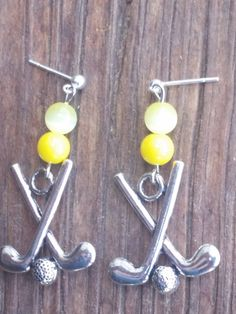 Yellow Golf Earrings by WesternCowgirlDesign on Etsy