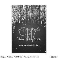 Elegant Wedding Night Dazzle Black 5x7 Paper Invitation Card