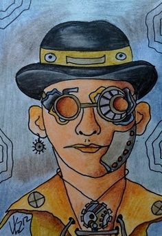 """ACEO """"STEAMPUNK GUY"""" ~Vicki at www.artwanted.com/njbeanie24  .  The acronym """"ACEO"""" stands for Art Cards, Editions and Originals. They can be original art, print editions or photographs.    The majority of ACEOs are two dimensional, but three dimensional elements may also be incorporated. Pop-ups, books, collages, and sculpture can all be ACEOs as long as they measure 2-1/2"""" x 3-1/2"""""""