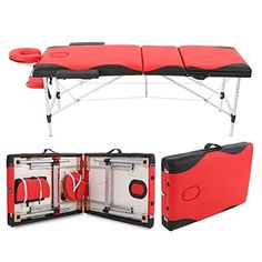 Abody Portable Massage Table 3 Fold Aluminium Frame Adjustable SPA Bed Tattoo Beauty Salon, 84''L, Red Plus Black. For product & price info go to:  https://beautyworld.today/products/abody-portable-massage-table-3-fold-aluminium-frame-adjustable-spa-bed-tattoo-beauty-salon-84l-red-plus-black/