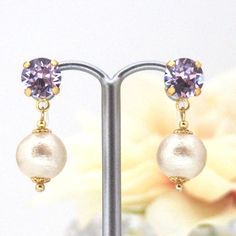 Violet Swarovski Crystals and Light Beige Japanese Cotton Pearl Invisible Clip on Earrings,  by MiyabiGrace  #CottonPearls #JapaneseCottonPearls #JapaneseCottonPearlEarrings #CottonPearlEarrings #CottonPearlClipOnEarrings #CottonPearlClipOnEarrings #PearlClipOnEarrings #PearlEarrings #InvisbleClipOnEarrings