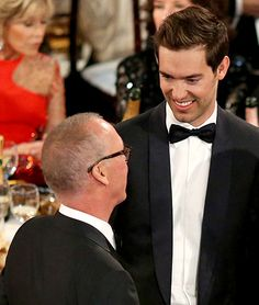 Michael Keaton and son Sean Douglas at the 72nd Annual Golden Globe Awards held at the Beverly Hilton Hotel on January 11, 2015.