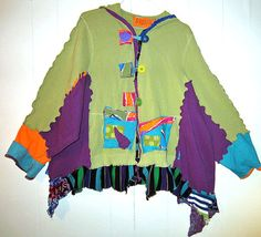 Reconstructed Kiwi green cotton Hoodie with hand by monapaints, $249.00