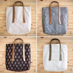 Love these bags, especially the blue one.  The handle length is adjustable using snaps!  So clever.