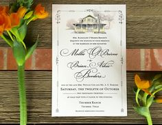 This lucky Thurber, Texas bride got married on the front steps of her childhood home. We were the lucky ones who illustrated it for her wedding invitation!