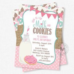 Milk and Cookies Birthday Invitation, Milk and Cookies Invitation, Sugar Cookie Invitation, Burlap B Burlap Invitations, Baby Shower Invitations, Birthday Invitations, Photo Invitations, Girl 2nd Birthday, 3rd Birthday Parties, Birthday Ideas, Cookie Bar Party, Pink Cookies