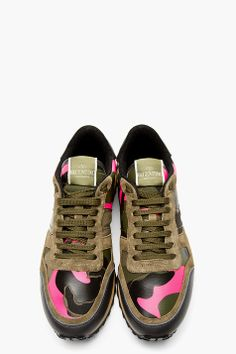 VALENTINO Green Camo Studded Running Shoes