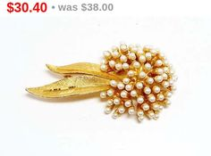 BSK Pearl Brooch - Explosion of Pearls Flower Pin with leaves